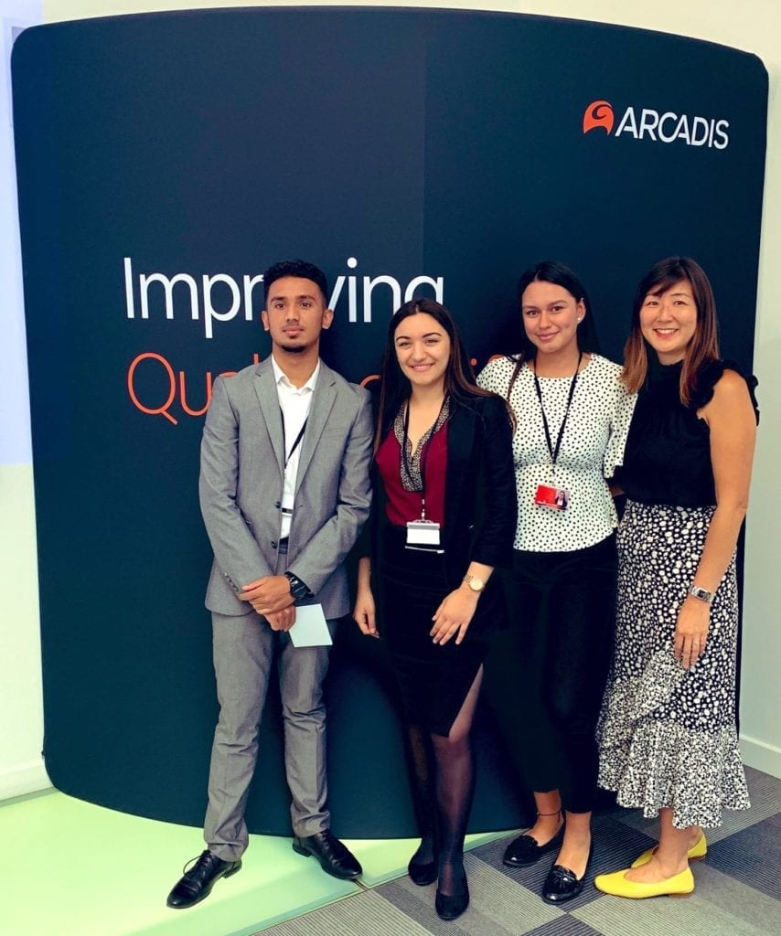 Photo of Career Ready interns at Arcadis, with Carlo Liu from Westminster Kingsway College