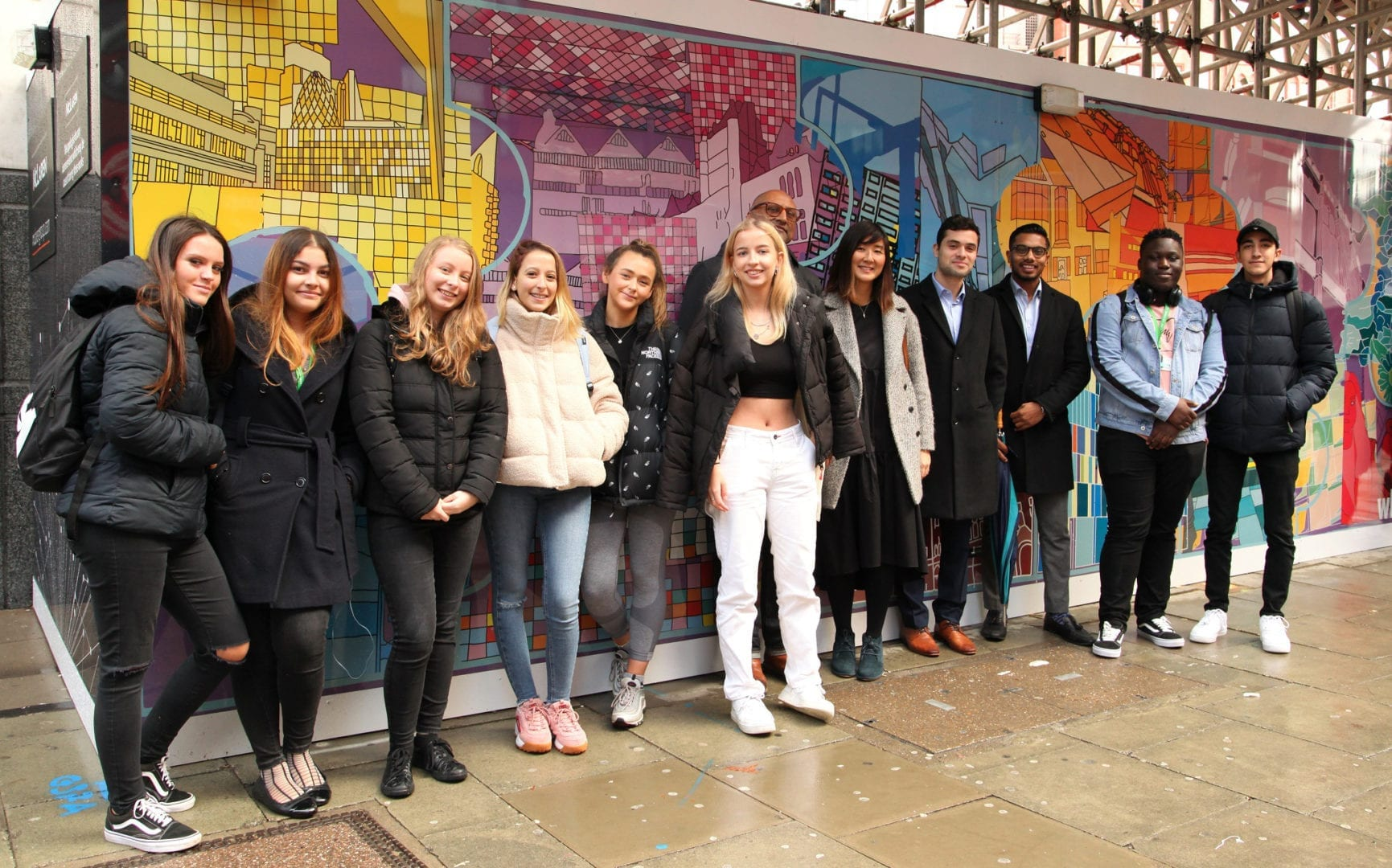 A picture of staff and students from Westminster Kingsway college and dar Group staff at 150 Holborn
