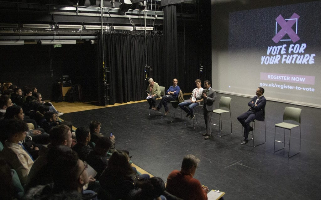 Candidates and Westminster Kingsway students at a general election hustings event held at the college on 19 November 2019
