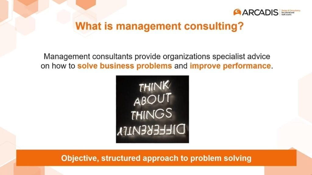 A presentation slide about management consulting